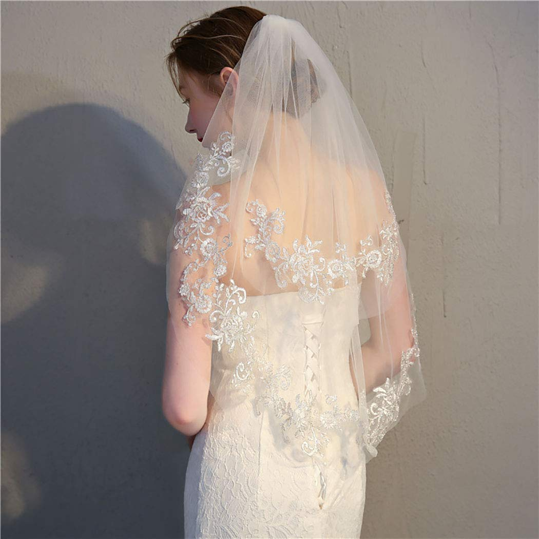 Ursumy Wedding Lace Veil Short Sparkle Waist Veils 2 Tier Soft Tulle Bridal Veils with Comb (White)