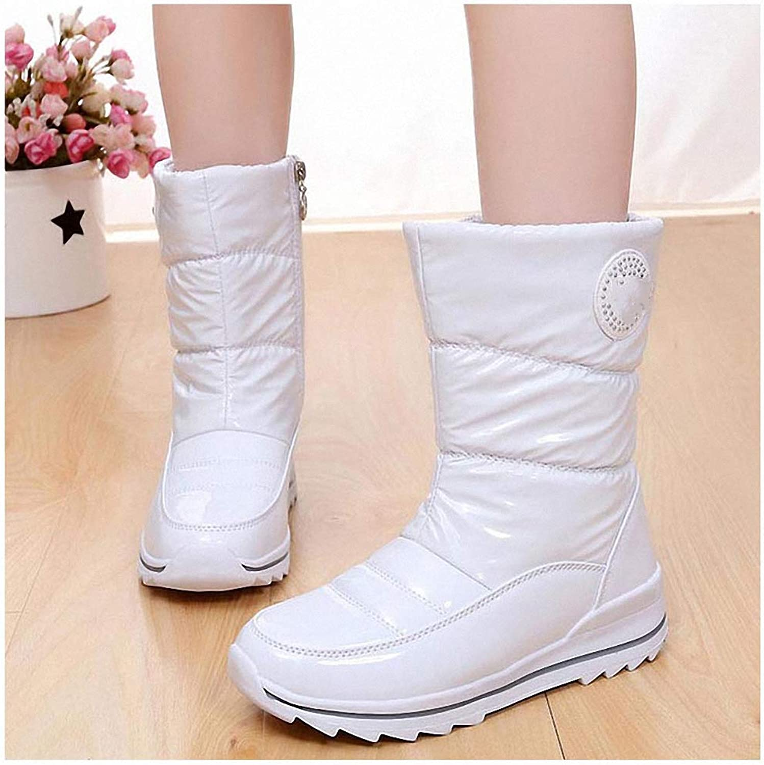 Womens Backpacking Boots Women Boots Waterproof Thick Fur Winter shoes Slip-Resistant Women Platform Snow Boots