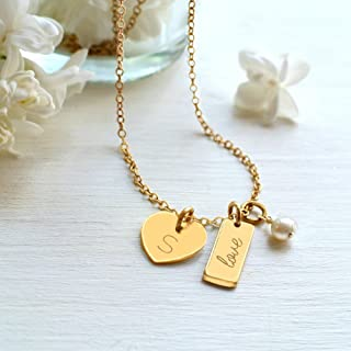 Personalised Gold Tiny Heart and 'love' Mini Bar with Freshwater Pearl Necklace