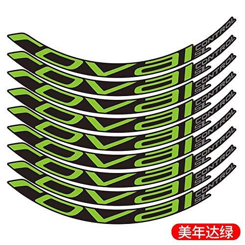 MYSdd Etiqueta de Bicicleta Bicicleta de montaña Roval Control SL29 Pulgadas 25mm de Ancho llanta de Color Etiqueta Adhesiva de Color MTB llanta - Verde