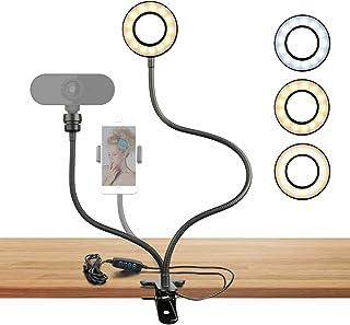 Webcam ringljusstativ för Live Stream Selfie Ring fyllningslampa med webbkameramontering eller telefonhållare, 3-ljuslägen...