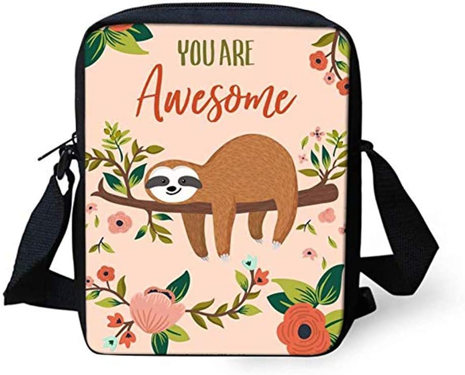 AFPANQZ Yellow Sloth Design Shoulder Handbags for Women Girls Travel Casual Cross Body Purse Satchel Teenager Hobo Tote Bag You Are Awesome