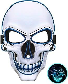 JuguHoovi LED Masken Halloween Purge Maske, Leuchten Scary Death Skull Maske mit 3 Blitzmodi für Halloween Fasching Karneval Party Kostüm Cosplay Dekoration