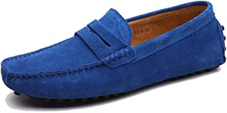 MINITOO Mens Penny Loafers Suede Driving Shoes Winter Moccasins YY2088