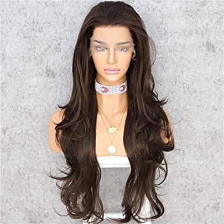 Sapphirewigs Dark Brown Long Wavy T-Part Lace Front Wig For Women Natural Looking Heat Resistant Black Synthetic Hair Wigs...