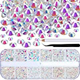 TecUnite 2000 Pieces Flat Back Gems Round Crystal Rhinestones 6 Sizes (1.5-6 mm) with Pick Up Tweezer and Rhinestones Picking Pen for Crafts Nail Face Art Clothes Shoes Bags DIY (Clear AB)