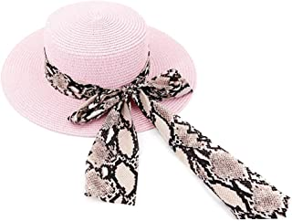 PengCheng Pang New Women Outdoor Beach Straw Sun Hat Beach Sunshade Beach Panama Jazz Hat Decoration Bow Tie Hat (Color : Pink, Size : 56-58CM)