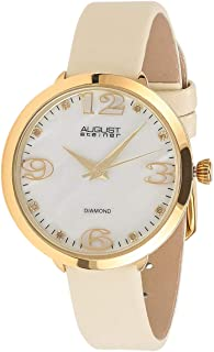 August Steiner Women's Fun Dress Watch - Yellow Gold Tone Case around White Mother of Pearl Diamond Dial with Big Number Hour Markers on Thin Beige Genuine Leather Skinny Strap - AS8165
