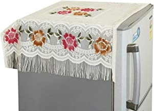Yellow Weaves™ Floral Decorative Fridge Top Cover - (Off-White Color 37 X 24 Inches)