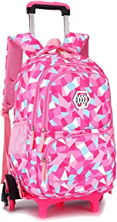 Geromg 2PCS//Set Children School Bags Removable Boys Girls Cartoon Trolley Backpack 2//6 Wheels Child Climb Stair Kids Rolling Backpacks