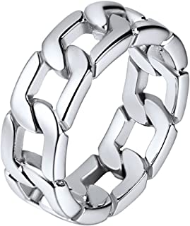 Stainless Steel 7mm Wide Band Cuban Link Chain Ring, Size 7 to 12