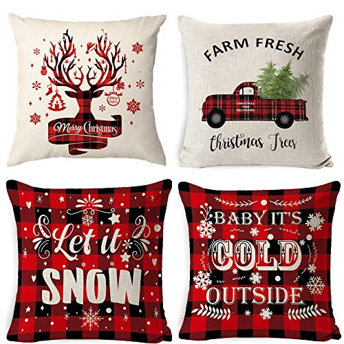 a ray of sunshine Weihnachten Kissenbezug 4 Pack,Winter dekokissen,Dekor Kissenhülle,Kissenbezug Weihnachten 45x45,kissenhülle Home bunt,Leinen Dekokissen,Schlafzimmer Dekokissen