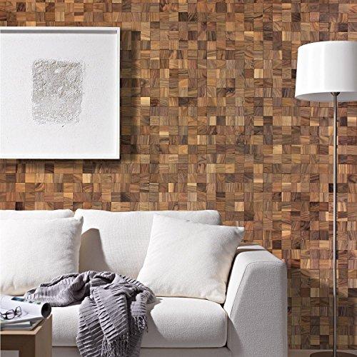 wodewa 3D Revêtement Mural Bois Adhesif Noyer 30x30cm Parement Bois Lambris Plaquette de Parement Intérieur Panneaux Muraux Decoration Murale Interieur