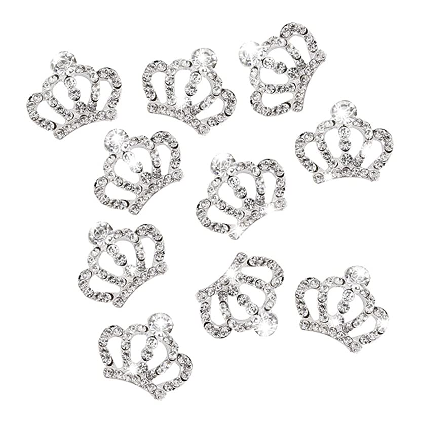 ROSENICE 10pcs Crystal Crown Rhinestone Embellishments for Craft Decoration (Silver)