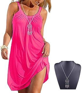 530810945a4 Imixshopcs Women Relaxed Sleeveless Beach Short Mini Dress with Gathered  Neckline