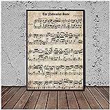 JFGJF Notazione Musicale Immagine Immagini Moderne Stampe su Tela Dipinti di Arte murale per Soggiorno Decorazioni per la casa-24X32 Pollici Senza Cornice