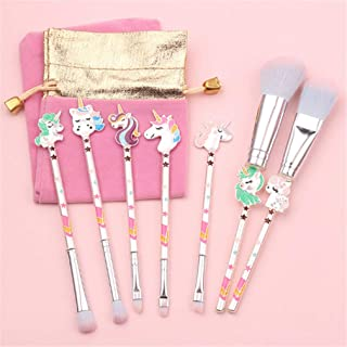 LOSOUL Unicorn Makeup Brush 7pcs Set With Pouch Cosmetic Brushes With Cute Pink Bag Colorful Unicorn Makeup Brushes