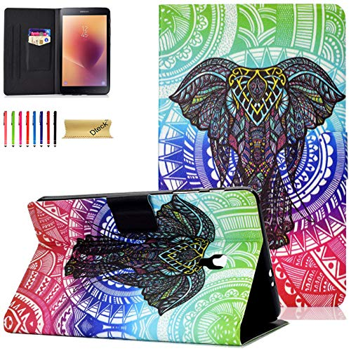 SM-T380 Case, SM-T385 Case, Tab A 8.0 Case 2017 - Dteck Nice Cute Flip Folio Smart PU Leather Wallet Pocket Case Cover with Stand Stylus for Samsung Galaxy Tab A 8 Inch 2017 Version(Retro Elephant)