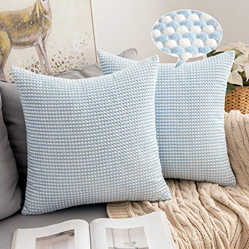 MIULEE Fundas Cojines para Cama Funda de Almohada de Pana Cojin Rectangular de Sofa Mix Color Poliéster Decoracion para Habitacion Dormitorio Oficina Silla Salon Comedor 2 Pieza 60x60cm Azul y Blanco