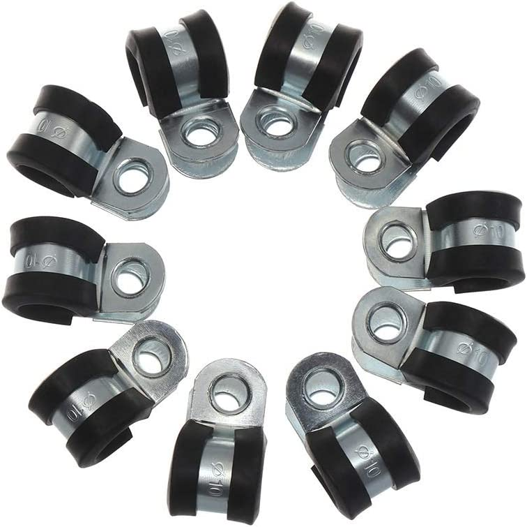 10Pcs Time sale Rubber Lined P Clips Wiring Pipe Cable Hose Spasm price Mounting Clamp