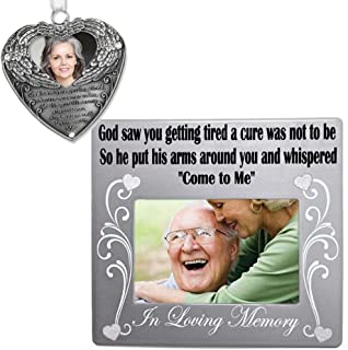 BANBERRY DESIGNS Remembrance Frame and Photo Ornament - God Saw You Getting Tired Saying - Memorial Christmas Ornament + Memorial Picture Frame