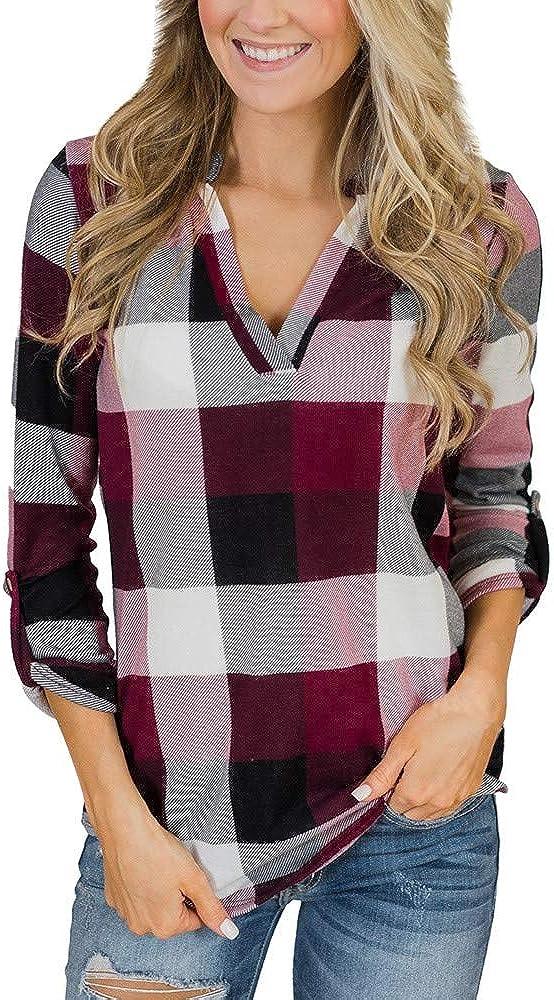 Masbird Fall Clothes for Women, Womens Long Sleeve Vneck Color Block Sweatshirt Plaid Lattice Shirt Casual Crewneck Tops