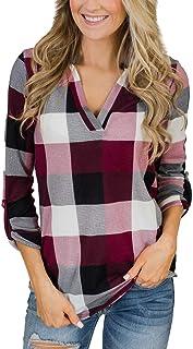 Camisa con Botones de Tela Escocesa para Damas Tops Escote en v Manga Larga Suelta Gran tamaño Casual Elegante Vestir Hebi...