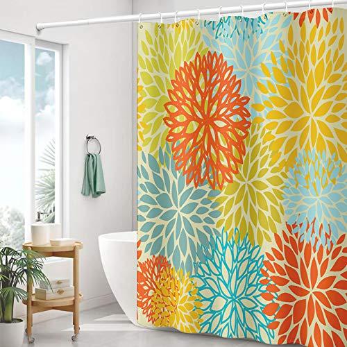 Kackool 72x72 inches Dahila Shower Curtains Red Yellow Teal Flower Bathroom Curtains Multicolor Shower Curtain