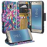 Galaxy J7 Crown/J7 Star/ J7 Refine/ J7 2018 / J7v 2nd Gen 2018 Case, Cute Leather Wallet Phone Case Cover [Kickstand] Girl Women for Galaxy J737V,J737T - Rainbow Flower