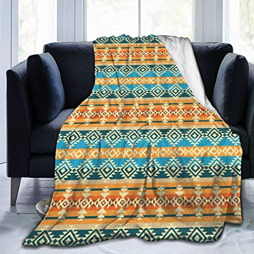 AIKIBELL Ultra-Soft Micro Fleece Blanket,Striped Backdrop with Geometric Tribal Motifs Native Mexican Cultural Heritage,Home Decor Warm Throw Blanket for Couch Bed,80'X 60'