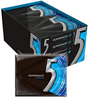 5 GUM Peppermint Cobalt Sugar Free Chewing Gum, 15 Pieces (10 Pack)