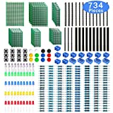 WayinTop Doble Cara Junta de PCB Prototipo con Kit de Componentes de Electrónica, 2.54mm Conector + 2/3Pin PCB Bloque de Terminal de Tornillo + Resistor + 5mm Led Diodos + Táctil Botón Interruptor