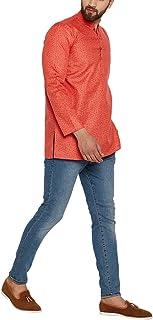 Sojanya (Since 1958) Men's Dark Orange Cotton Linen PRINTED Short Kurta