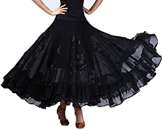 CISMARK Elegant Ballroom Dancing Latin Dance Party Long Swing Race Skirt