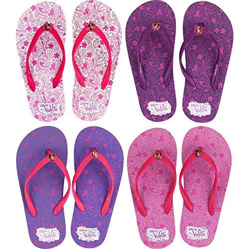 Zehentrenner Sandalen Violetta rutschfeste Schuhe Schuh / Badeschuhe mit Profilsohle - für Kinder - Mädchen / Hausschuhe Gartenschuhe - Wasserschuhe - Wasser Duschschuhe Badelatschen Zehentreter Zehensandale (29/30)
