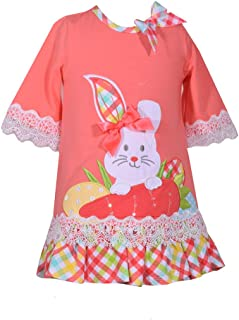 Baby Toddler and Little Girl's Easter Dress with Bunny Applique