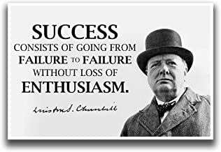 JSC386 Winston Churchill Success Classroom Poster   18-Inches by 12-Inches   Premium 100lb Gloss Poster Paper