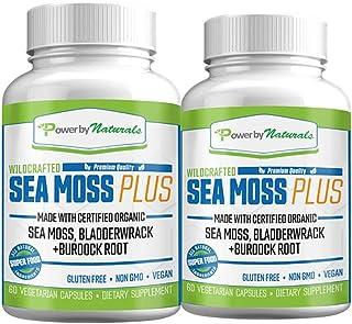 Power by Naturals - Certified Organic Sea Moss Plus - (2-PK) Wildcrafted Irish Sea Moss and Bladderwrack Burdock Root Caps...