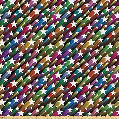 ABAKUHAUS Kleurrijk Stof per strekkende meter, Stars Disco, Stretch Gebreide Stof voor Kleding Naaien en Kunstnijverheid, 5 m, Veelkleurig