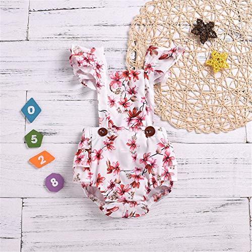 BABIFIS Baby Peuter Baby Meisje Kleding, Europa Amerika Baby Vliegende Mouw Plooi Rimpel Romper Pasgeboren Klimmen Suit, 70 cm-100 cm Zomer