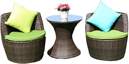 Three-Piece Rattan Table and Chair Terrace Rattan Chair Coffee Table Combination Creative Outdoor Rattan One Table and Two...