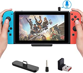 Bluetooth Adapter for Nintendo Switch/Switch Lite PC/PS4, Mini Mic Supports in-Game Voice Chat, Wireless Audio Transmitter...
