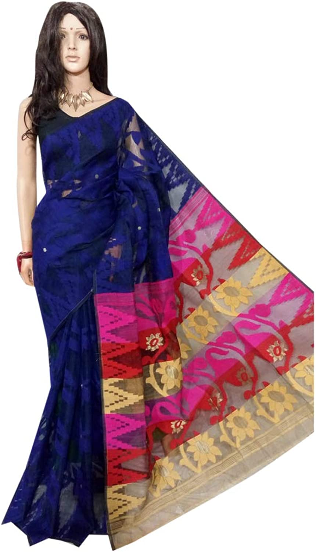 Indian Saree Ethnic Navy bluee Multicoloured dhakai jamdani Designer Collection Sari Party Formal Women Wear 104a