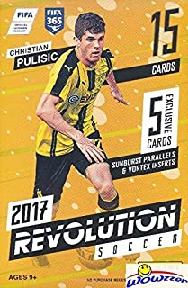 2017 Panini Revolution Soccer EXCLUSIVE Sealed 15 Card Hanger Box with (2) VORTEX INSERTS & (3) SUNBURST PARALLELS! Look for Cards & Autographs from Messi, Ronaldo, Maradona, Pulisic & More! WOWZZER!