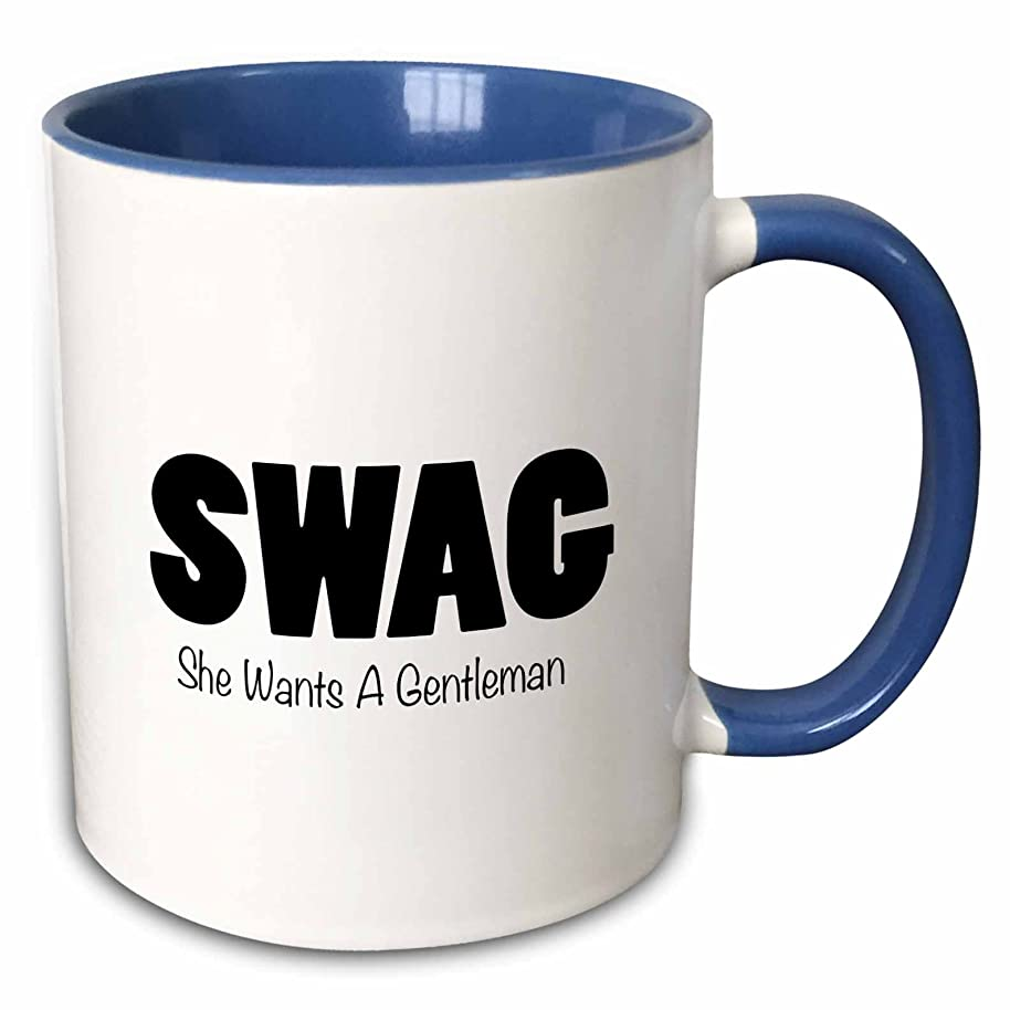 3dRose Tory Anne Collections Funny Acronyms - SWAG - SHE WANTS A GENTLEMAN - 15oz Two-Tone Blue Mug (mug_221065_11)