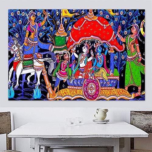 PLjVU Danza hinduismo ética Hecho a Mano Lienzo Pintura Cartel impresión Pared Arte Colgante-Sin marco60x90cm