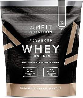 Marca Amazon - Amfit Nutrition Proteína Whey de suero de leche sabor Cookies & Cream, 32 porciones,  990 g