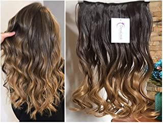 17 Inches Wavy Curly One Piece Half Head Ombre Clip in Hair Extensions 120grams (Col. Dark brown/honey blonde)