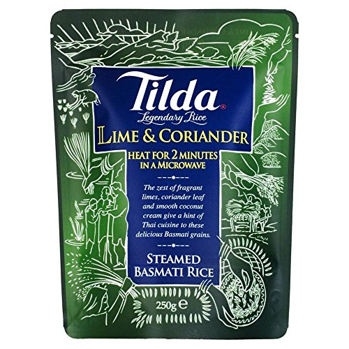 Tilda Basmati Reis Steamed Lime & Koriander (250g) - Packung mit 6