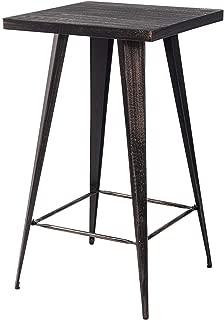 Merax Rectangular Distressed Metal Bar Table, Pub Table 41.3Inch High (Golden Black)